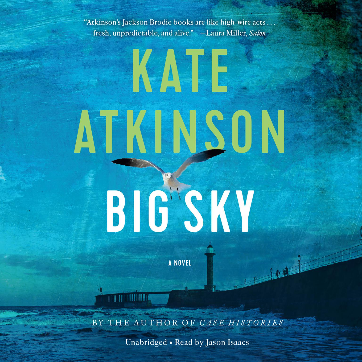 The book cover shows a turquoise sky and ocean, with a long pier extending into the water with a lighthouse and bridge at the end, and several people walking on the pier.  A seagull with wings extended is aloft in the foreground.
