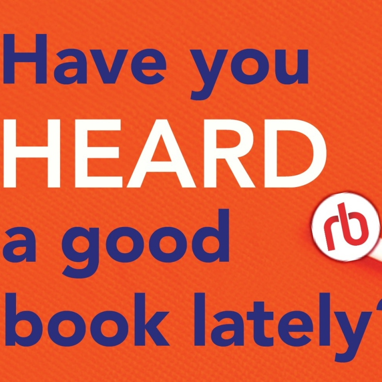 "Orange background with ""Have you heard a good book lately"" text in blue and white"