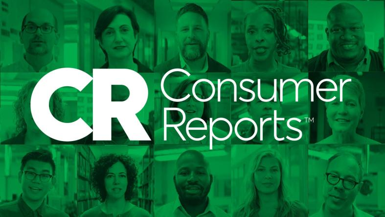 Collage of fifteen diverse faces with a green overlay sits behind the white Consumer Reports logo.
