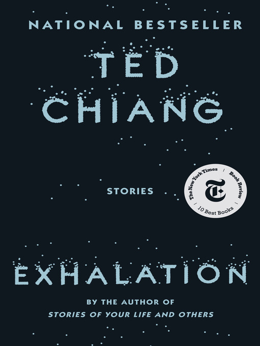 The cover shows a dark background with the title and author's name in slate blue graphics. The letters look like they are dissolving into stars, with the dark background as outer space.