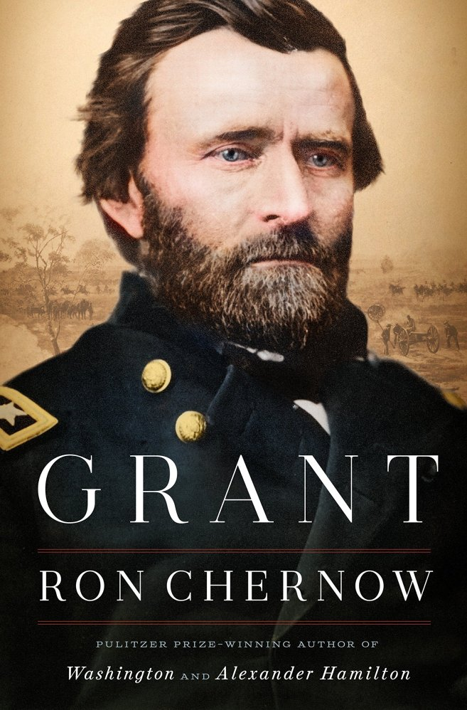 The cover shows a portrait of President Grant in his Union general's uniform, with a faded beige-toned battlefield landscape in the background.