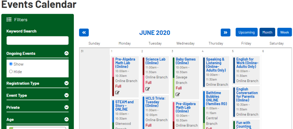 Events calendar for June 2020, with classes listed in a grid. On the left side, a green filters menu to help with searching is visible.