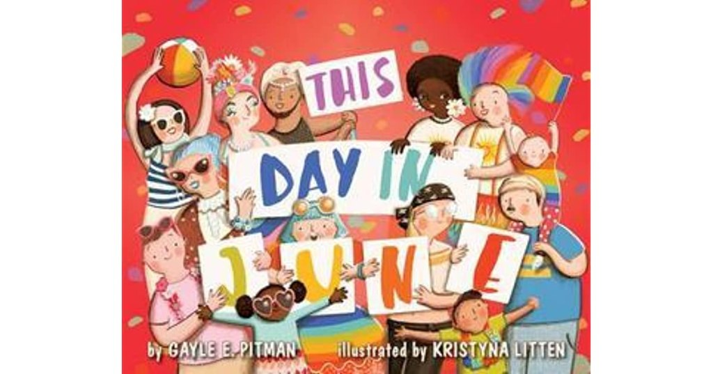 The book cover shows a multicultural, multiracial group of adults and children holding up a rainbow sign with the title.