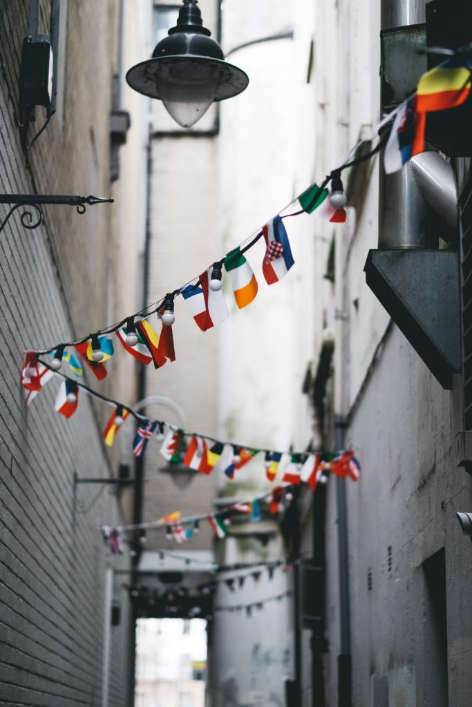 The picture depicts bunting in an alley festooned with flags from different countries, with a light fixture overhead.