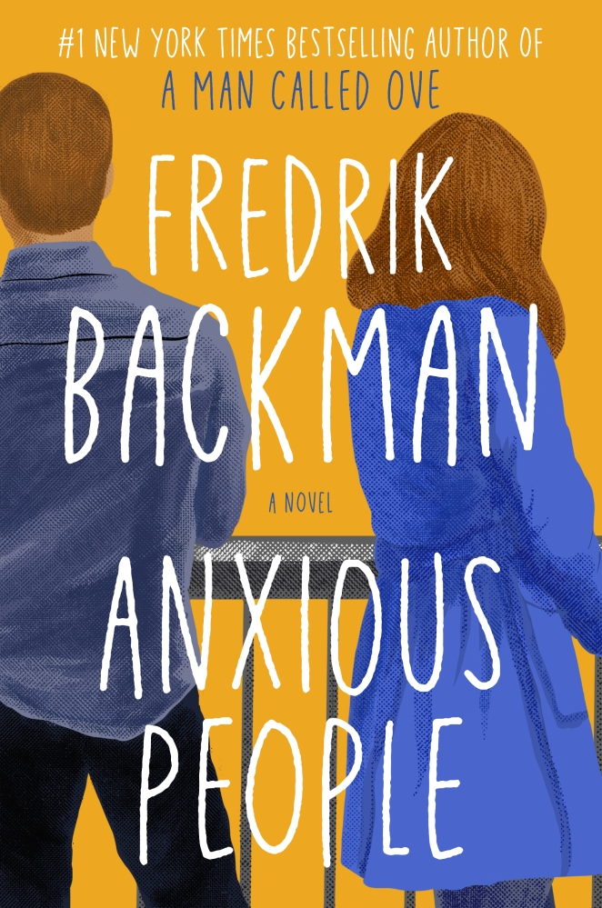 The bright yellow cover features an illustration of two people, a man and a woman, with their backs to the viewers. He's in black pants and blue shirt; she's wearing a brighter blue belted coat. The author and title appear in a hand written font in white.
