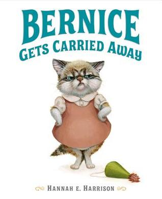 The book cover shows the title with a tabby kitten, Bernice, beneath. She is wearing a blouse and a peach jumper and has her hands on her hips. A green party hat lies on the floor next to her.