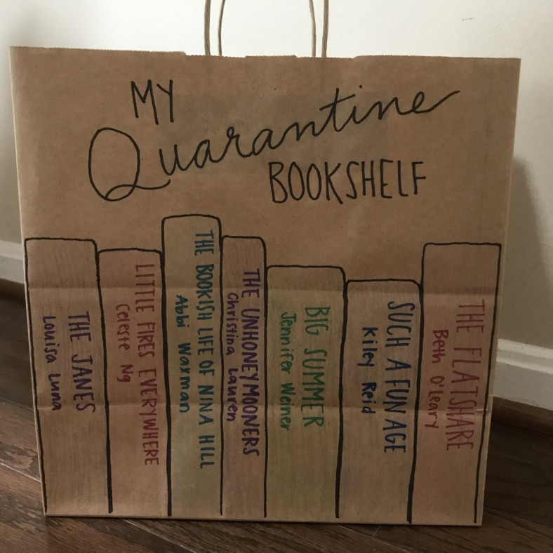 Brown paper bag decorated with book spines, as a way to reuse or recycle.