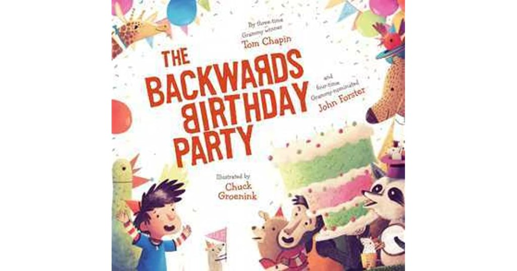 The book cover shows a little boy, his animal guests in party hats, his birthday cake, and multicolored balloons and pennants.