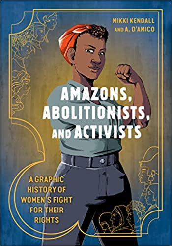 The cover depicts a young woman dressed for work, in gray pants and shirt and a red headscarf, holding up a fist.