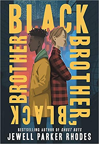 The cover depicts two boys back-to-back, one wearing a yellow jacket and green hood and one in a red and black plaid shirt.
