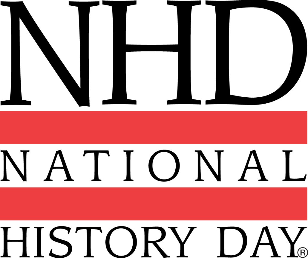 NHD initials above two red bars, interspaced with National History Day text