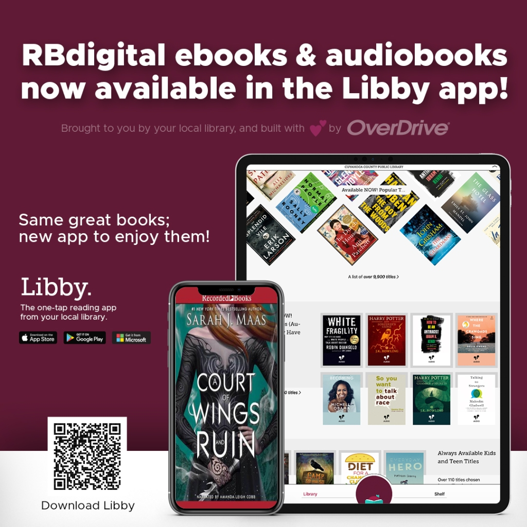 Deep red background sets off text in white for an ad for Libby app by OverDrive, which features a tablet and a phone displaying various book covers.