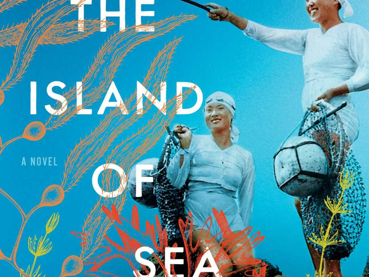 On a sea blue background, two Korean women stand ready to dive. The title and author information interweaves with line drawings of water grass and squids.