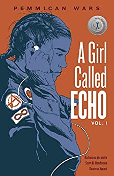 The book cover depicts a young woman i profile, wearing a jacket with patches on the shoulder, putting earbuds into her ears.