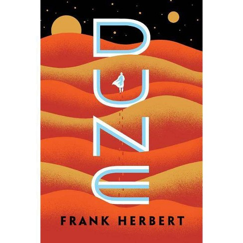 """Orange and yellow waves of color suggest sand dunes. Title appears in bright white type vertically in the center, with a silhouetted figure within the """"U"""". A black space sky is across the top, with stars and moons."""