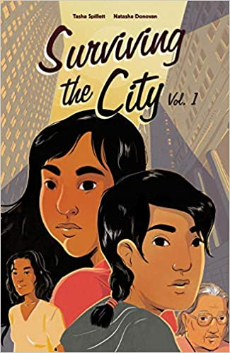 The book cover depicts three young women and one senior woman against the background of an immense cityscape that rises behind them.