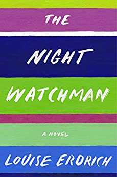 The book cover depicts the title and author in white against colorful background stripes in blues, mauves, and greens.