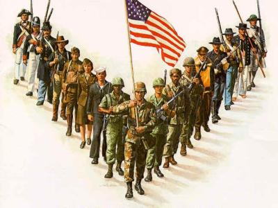 A diverse group of men and women in uniform from the different armed services standing in a V formation, with the United States flag being held by the person at the front. Illustration.