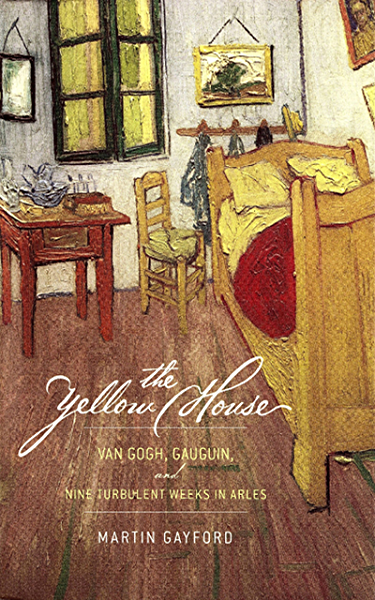 "The cover is a photograph of Van Gogh's painting, ""The Bedroom, 1888."" The scripted text, ""the Yellow House"" appears atop Van Gogh's painting of his room in Arles, with a single wooden bed, a small chair, a side table, and six pained windows. The colors are natural wood browns and a red blanket. The brush work is restrained."