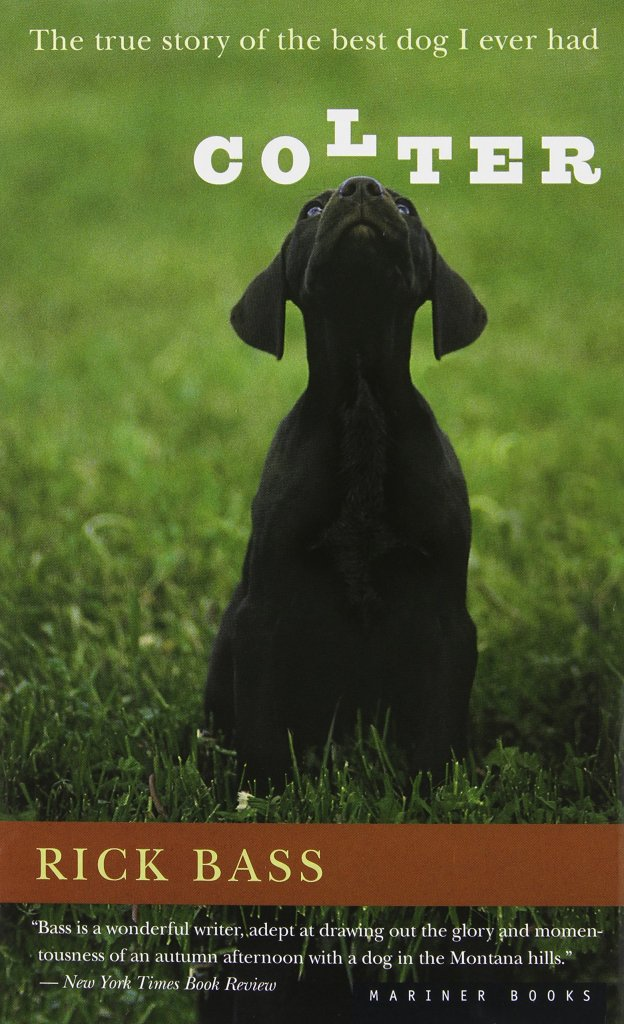 The book cover photograph shows a black, blue-eyed, short-haired dog seated with his nose in the air, on a field of lush, bright green grass.
