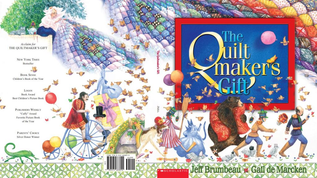 A parade proceeds along the bottom of the cover, with a soldier, a bear, dancing cats, among other figures. A rainbow of a quilt spills across the top, and the title sits in a blue box, bordered in red in the center of it all.