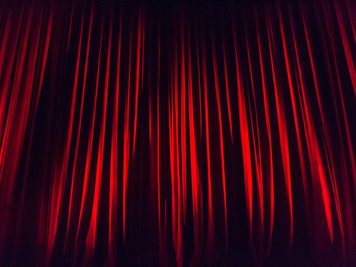 Deep read theater curtain