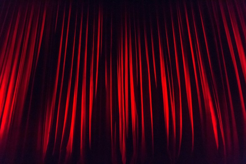 Deep read theater curtain
