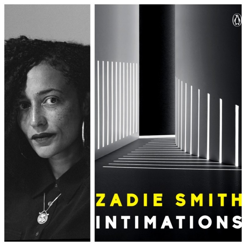 Black and white photo of author next to the black and white color of her book of essays, which features white strips on grey scale geometric objects