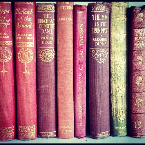 The photograph shows the spines of a row of antique books, including classics like The Hunchback of Notre Dame and The Man in the Iron Mask.