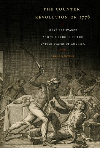 Black adn white print of slave revolt with a man wielding a sword and disarray around a table.