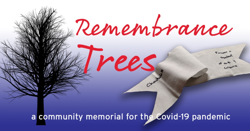 "A black silhouette of a bare tree sits on a blue background, with red letter that read ""Remembrance Trees"" and a white ribbon with a message on it."