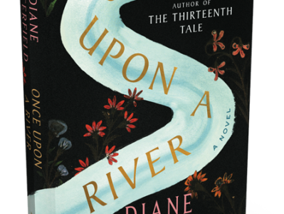 """The book depicts the next of a swan as a winding river, with flowers scattered alongside and the title, """"Once Upon a River,"""" superimposed."""