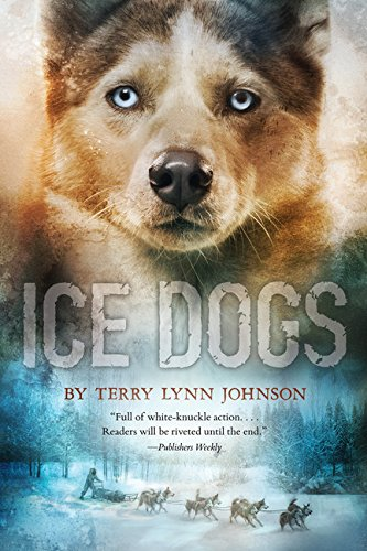 The book cover depicts a blue-eyed husky above the title, with a panoramic scene under the title of a driver, dog sled, and dogs against a winter forest backdrop in muted blue and gray tones.