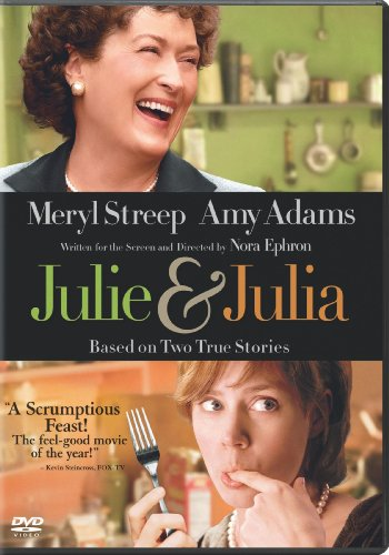 The DVD cover for the movie with Meryl Streep as Julia Child at the top in a green kitchen and Amy Adams licking her finger and holding a fork at the bottom.