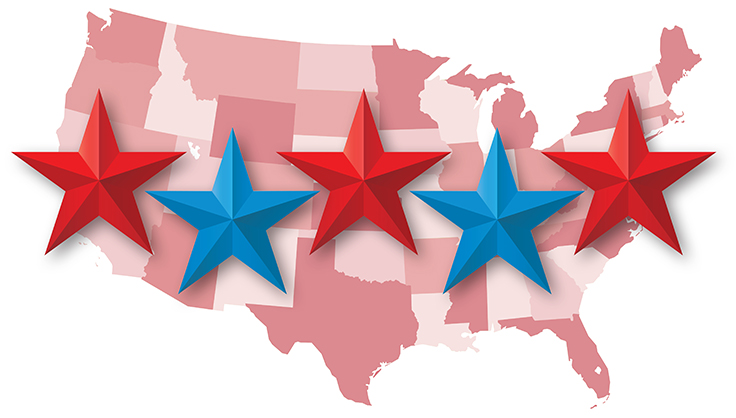 Map of the US with state shaded in various tones of red, with five large red and blue stars on top.