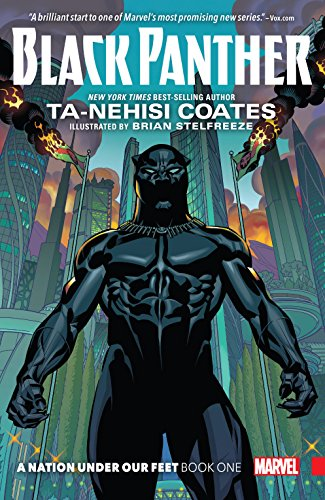 A comics book illustration: shows the Black Panther standing strong and alone in front of a futuristic city-scape.