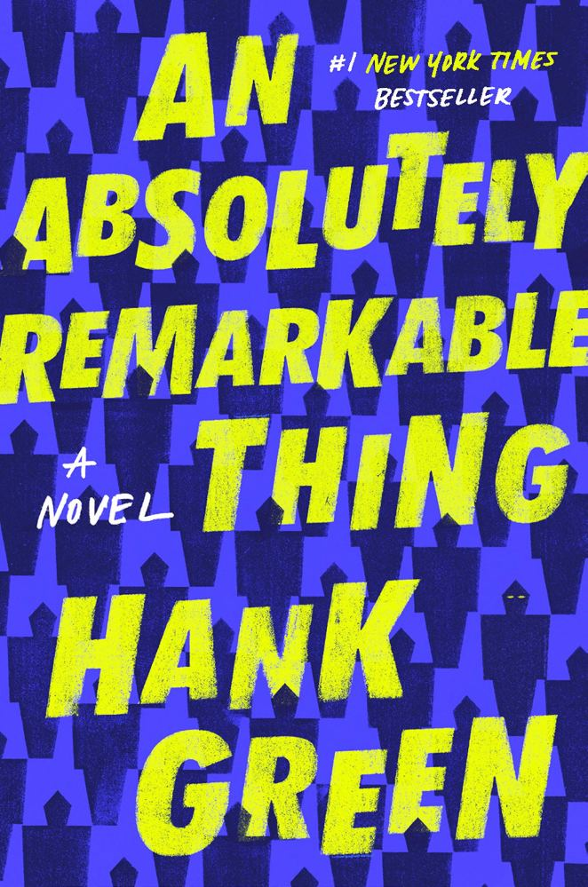 A repeating pattern of blocky robots in dark purple form the background behind bright yellow staggered letters of the title and author.