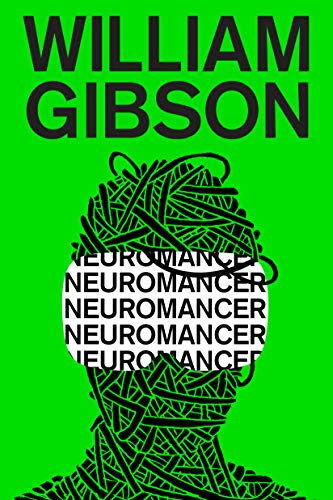 "The background is a solid bright green, with the illustration of a head wrapped in cord or wire. Where goggle would appear, the text ""neuromancer"" is repeated in black letters on white."