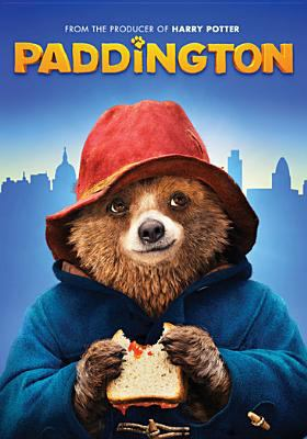 The film poster depicts Paddington bear in his red hat and blue coat, eating a jelly sandwich, against a blue background of the London skyline.