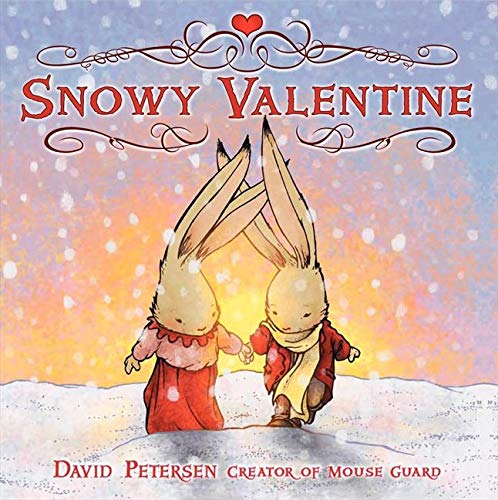 The cover depicts to rabbits holding hands, dressed in red, pink, and yellow winter clothing, walking across a snowy field with the snow falling around them and the rising sun in the background.