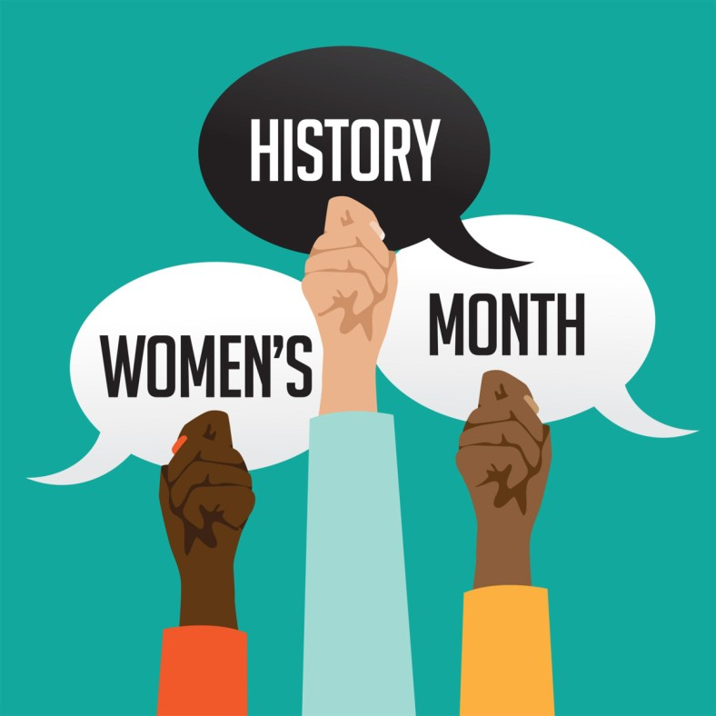 Against a teal background, three hands of varied skin tones rise up, holding quotation bubbles that read Women's History Month.