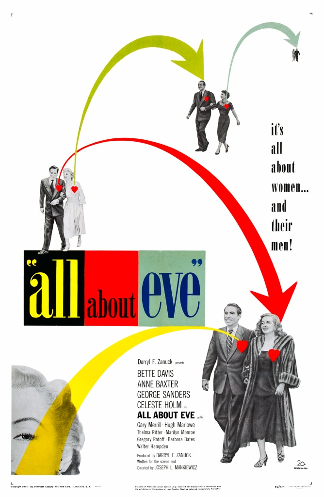 "The movie poster for All About Eve is captioned ""It's All About Women... and Their Men!"" and shows actors and actresses from the film walking side by side, with colorful directional arrows pointing from pair to pair, and red stylized hearts above where the heart would be on each person."