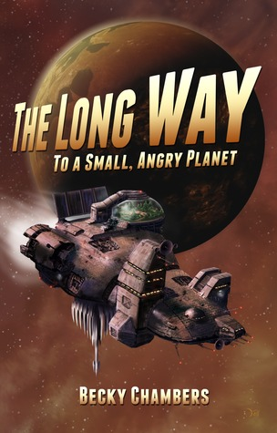 This mostly brown cover features a planet in the background and a chunky spaceship in the front. The title appears in shaded block letters which gradually increase in size.