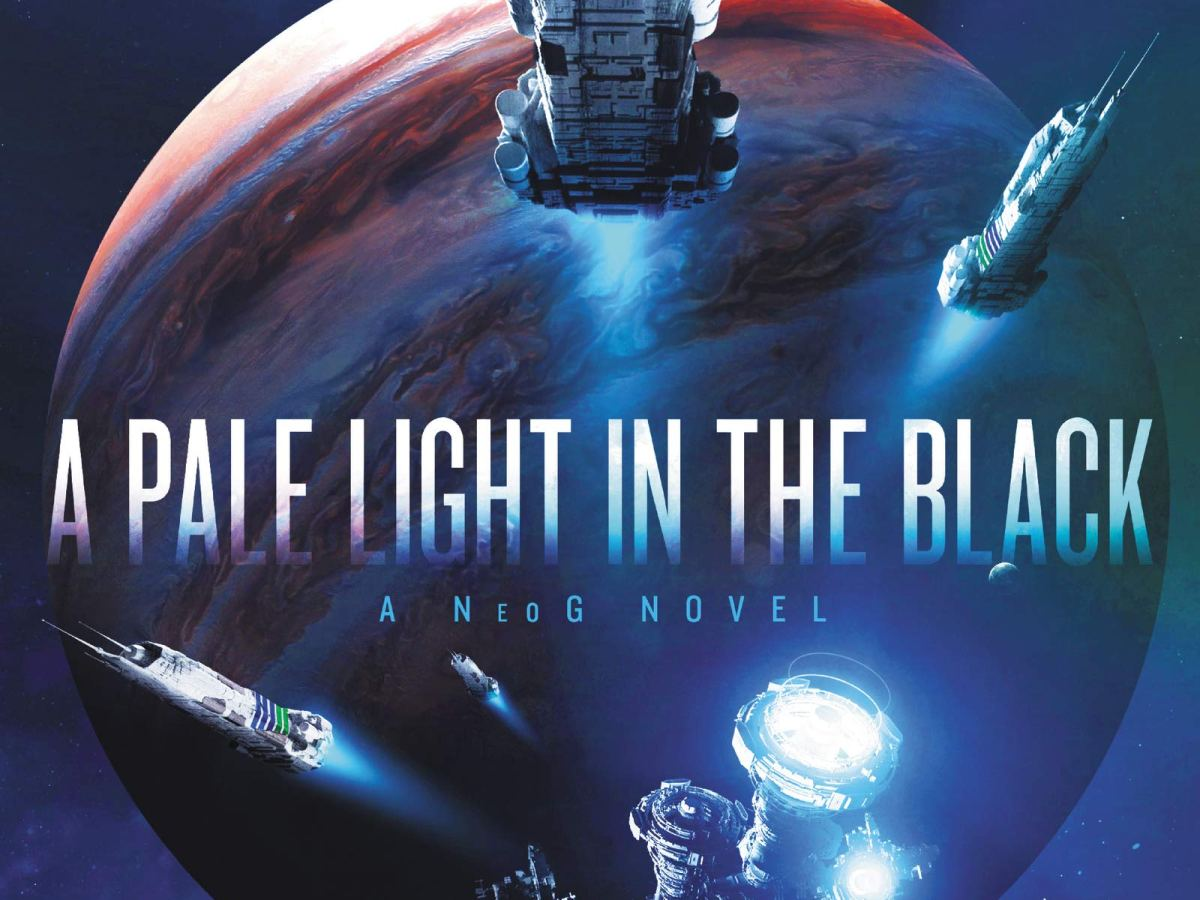 A blue cover with a an image of Jupiter in the background features a flotilla of different spaceships framing the title across the middle of the image.
