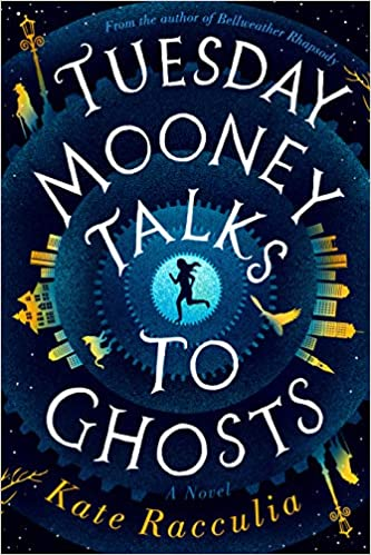 The book cover depicts Tuesday Mooney running in silhouette at the center of a series of concentric circles, with buildings, a cat, birds, and streetlamps on the edges of the circles.