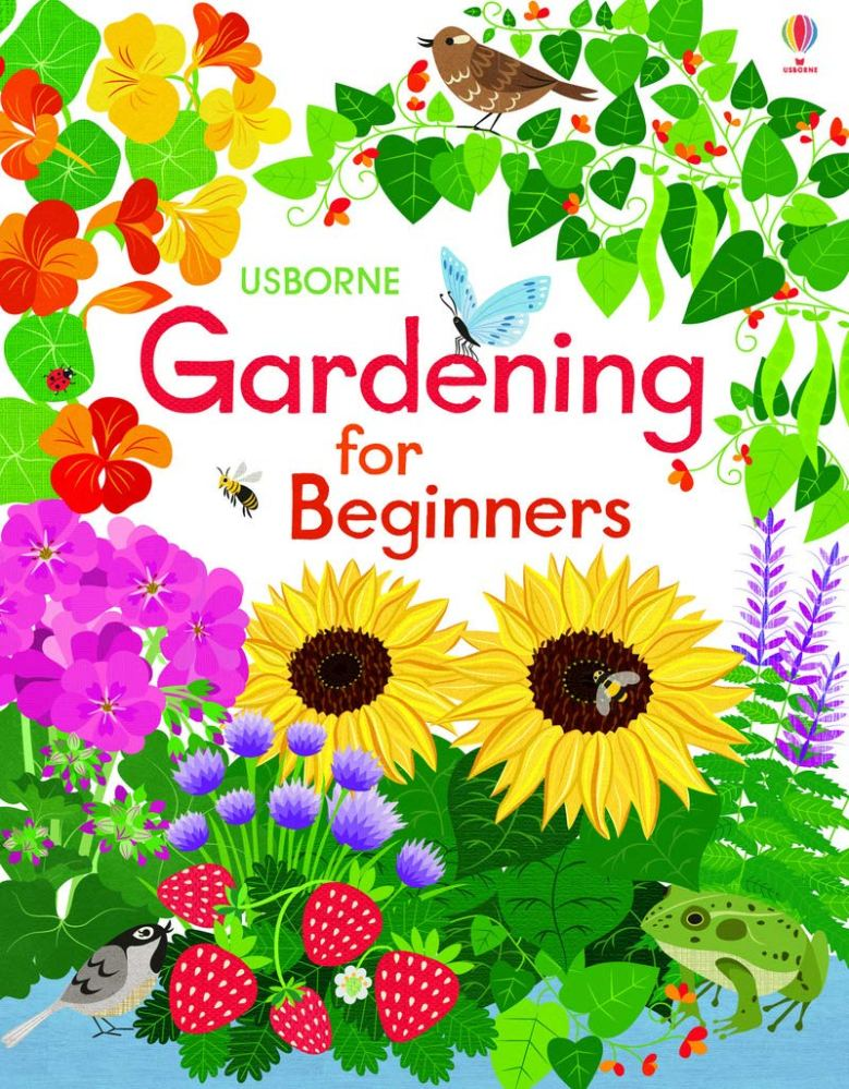 The cover depicts a garden of flowers, vines, and strawberries in bright primary and secondary colors, with birds, a butterfly, a frog, a ladybug, and a bee enjoying the vegetation.