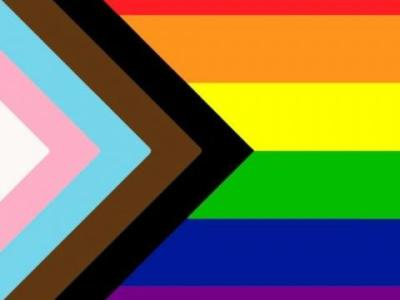 Horizontal rainbow stripes with an inset of triangle of white, pink, pale blue, brown and black.