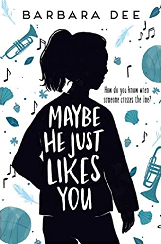 The book cover depicts a girl in black silhouette, against a white background with various objects in black and shades of teal, including trumpets, musical notes, a basketball, acorns, seashells, and leaves.