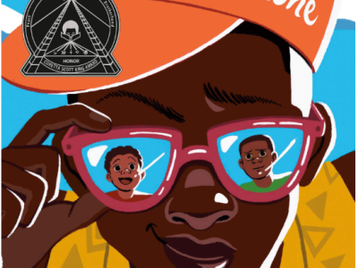 Cover art has an illustration of a Black teenager in a slightly off-center ball cap, adjusting his mirrored sunglasses. In the glasses, you can see two other Black kids. The title of the book appear in script on the orange hat.