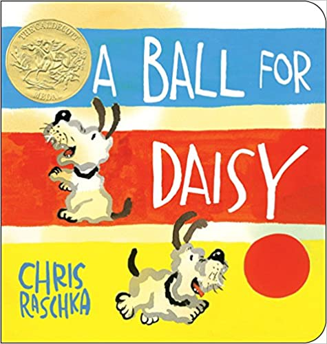 The cover depicts the dog, Daisy, a white dog with brown ears and tail and a black nose. She is shown in two scenes: standing on hind legs as if alert for a treat, and chasing a red ball. There are bands of blue, red, and yellow, with the title and white and the two pictures of Daisy, as well as the gold Caldecott medal for this award-winning book.